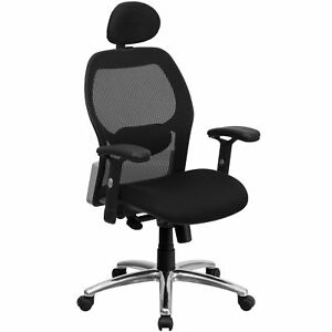 Darham Black Mesh Executive Swivel Adjustable Office Chair With Headrest And