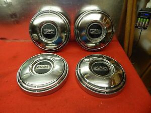 4 Used 67 Ford Galaxie Fairlane Black Crest Center 10 1 2 Hub Caps c7az 1130 a