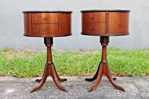 Pair 1940 S Exotic Flame Mahogany Round Drum Tables