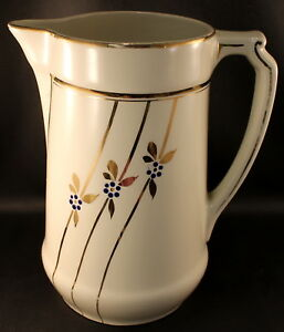 Keramis Leon Belgium 10 3 4 Large Pitcher Gold W Raised Cobalt Enamel Dots