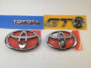 Toyota 2013 16 Gt86 Frs Front Rear Chrome Complete Emblem Set Genuine Jdm Oem