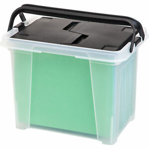 Iris Letter Size Portable Wing Lid File Box With Handles pack Of 4