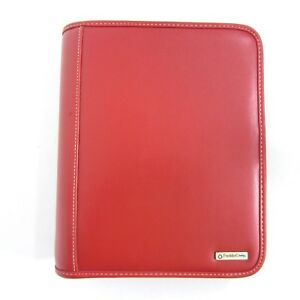 Classic Franklin Covey Day Planner Organizer Zip Binder Red 7 1 50 Rings Ruler