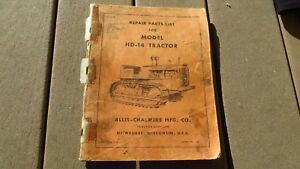 Allis Chalmers Hd 14 Diesel Tractors Service Manual Original