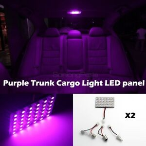 2x Pink Purple Led Panel Lights Universal Fit Interior Dome Map Lamps 12v