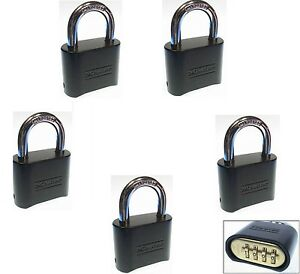 Combination Lock Set By Master 178dblk lot Of 5 Resettable Brass Insert Black