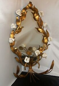 Vintage Mirror Italian Florentine Gold Tole W White Painted Roses Mcm All Metal
