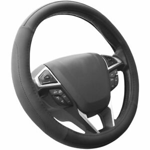 Seg Direct Black Microfiber Leather Auto Car Steering Wheel Cover Universal 15