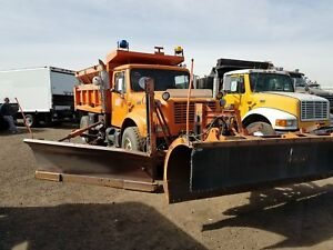 1994 International 4900 Dump Truck W front And Side Snow Plow stock 2338
