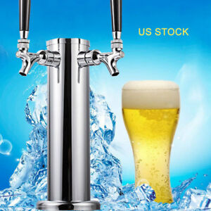 3 Stainless Steel Double Faucet 2 Tap Draft Beer Coffee Beverage Tower Us Stock