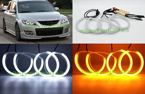 Dual Color Wh ye Cotton Led Halo Rings For Mazda 3 2004 2009 Devi Angel Eyes Drl