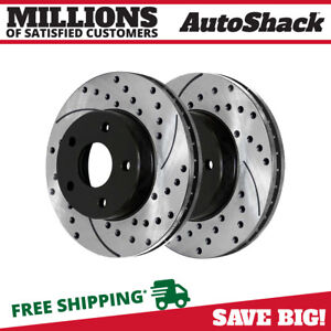 Front Drilled Slotted Brake Rotors Pair 2 For 04 07 08 Chevrolet Malibu 580244