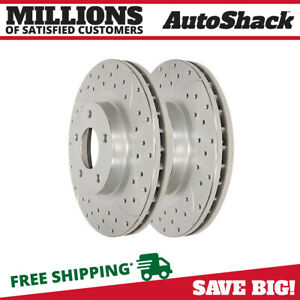 Front Pair 2 Silver Drilled Slotted Rotors 5 Stud Fits 2008 2014 Dodge Avenger