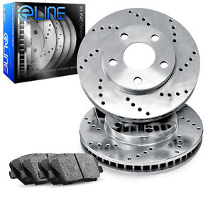 For 1986 1989 Jeep Comanche Cherokee Front Drilled Brake Rotors ceramic Pads