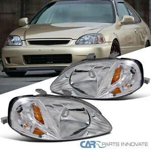 Fit 99 00 Honda Civic Clear Lens Headlights Head Lights Lamps Left Right Pair