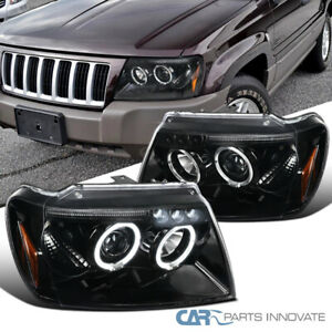 Jeep 99 04 Grand Cherokee Pearl Black Led Halo Projector Headlights Left right