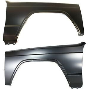 Fender Set For 1984 1996 Jeep Cherokee Front Primed Steel W Molding Holes Pair