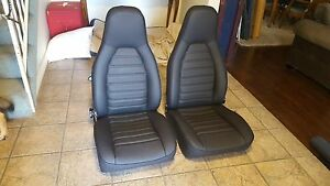 Porsche 911 912 944 Seats Re Upholstered Black German Basket Weave Vinyl New