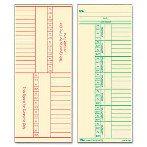 Tops Time Card For Cincinnati Named Days Two sided 3 3 8 X 8 1 4 500 box