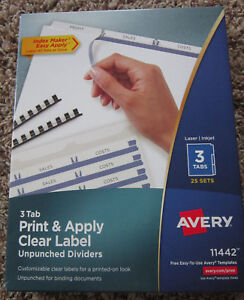 Avery 3 Tab Print Apply Unpunched Clear Label Dividers Index Maker 25 Sets 11442