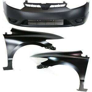 Bumper Kit For 2006 2008 Honda Civic Front 2 Door Coupe 3 Piece