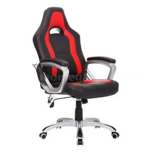 Race Car Style Pu Leather Heated Massaging Office Chair Black And Red A3h6