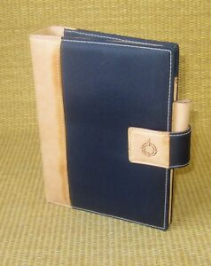 Compact 1 Rings Tan Leather microfiber Franklin Covey Open Planner binder