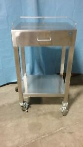 Stainless Steel Cart Heavy Duty Rolling Locking Wheels Very Good Conditio