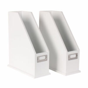 Francesca Wood Magazine Holder Desktop Organizers Set Of 2 White
