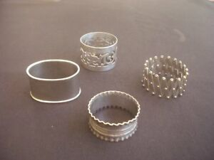 4 Vintage Silver Plated Napkin Rings All Different Designs 1 Expanding