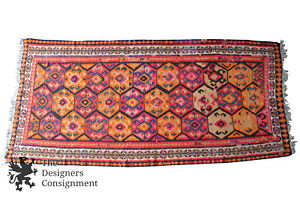 5 X 10 Antique Iranian 1935 Kilim Rug Runner 100 Wool Orange Pink Geometric