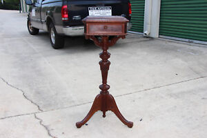 Fancy Walnut Victorian Renaissance Revival Brown Marble Top Plant Stand Ca 1870