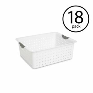 Sterilite Large Ultra Plastic Storage Bin Organizer Basket White 18 Pack