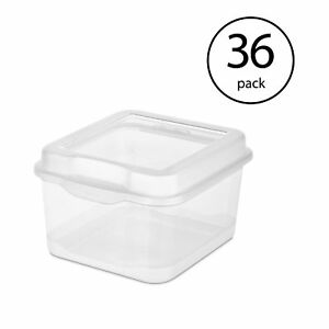 Sterilite Clear Plastic Flip Top Latching Storage Box Container W Lid 36 Pack