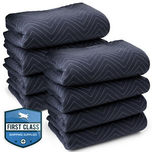 8 Moving Blankets Furniture Pads Pro Economy 80 X 72 Navy Blue And Black