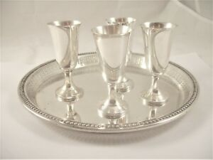 4 Vintage Solid Sterling Silver Cordials Tray Wallace Silversmiths