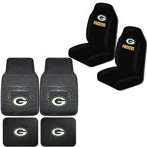 Nfl Green Bay Packers Car Truck Front Back Rubber Floor Mats Seat Covers Set