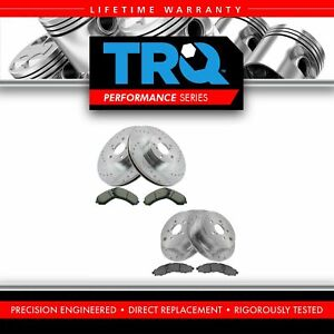 Front Rear Posi Ceramic Brake Pad Performance Drilled Slotted Coated Rotors