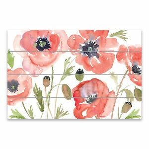 Red Poppies Wood Pallet 36w X 23 875h X 0 875d
