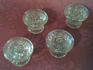 Set Of 4 Eapg Sandwich Style Clear Pressed Glass Drawer Pulls Vg 1