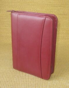 Compact 1 Rings Red Flex Leather Franklin Covey Zip Planner binder