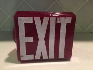Vintage Wedge Shape Ruby Red Glass White Letters Exit Light Sign