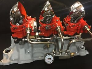 Vintage Speed Rochester 2g 3 X 2 Carb Set In Chevy Orange Tri Power Hot Rod