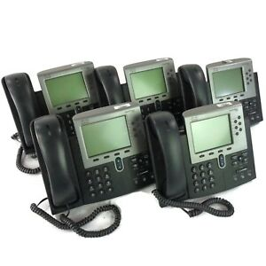 Lot Of 5 Cisco 7900 Series Cp 7962g Lcd Ip Voip Business Office Phone