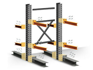 Cantilever Rack Starter Kit Double Sided 12 h X 48 d X 60 w With 5 h Arms