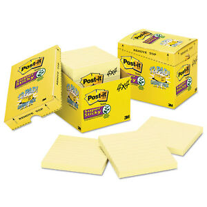 Post it Notes Super Sticky Canary Yellow Note Pads Lined 4 X 4 90 sheet box Of