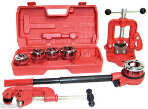 Pipe Threader Ratchet Type With 5 Dies Pipe Cutter 2 Clamp On Pipe Vise 1