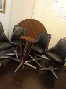 Chromcraft Mid Century Dinette 4 Chairs Executive Style Laminate Walnut