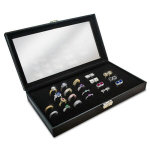 Glass Top Black 72 slot Ring Tray Jewelry Display Case