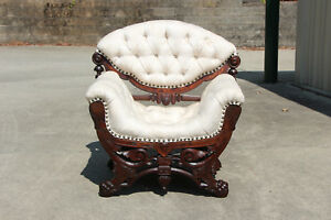 Spectacular Heavily Carved Walnut Victorian Ladies Tufted Saddle Chair Ca 1870
